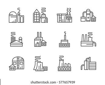 Industrial factories. Set line style icons