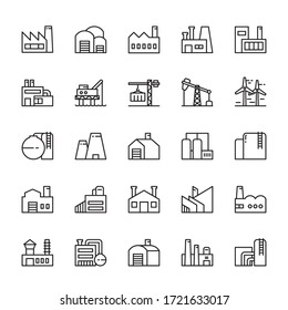Industrial factory building 25 line icons vector