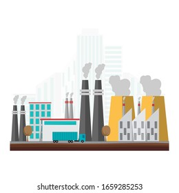 Industrial factory building in flat style. Factory full of pollution. Vector illustration.