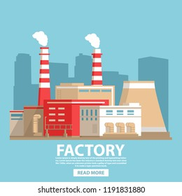 Industrial factory building.City landscape  nuclear power plant.Flat vector.Industry concept  manufactory chimney pipe.