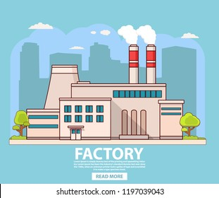 Industrial factory building.Nuclear power plant.Flat vector.Industry concept  manufactory chimney pipe.Power plant.