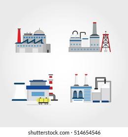Industrial factory buildings icon. Vector illustration.