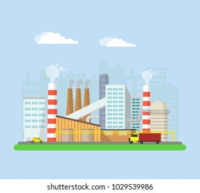 Industrial factory buildings from the outside. Pipes and blast furnaces, working machines. Buildings and facilities of the factory. Vector flat illustration