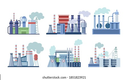 Industrial factory buildings set. Industrial buildings with pipes, power station, thermal nuclear power plants, different manufacturing plant, warehouse, factory with storage tanks for oil, gas vector
