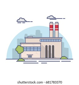 Industrial factory in flat style a vector an illustration.Plant or Factory Building.road tree window facade.Manufacturing factory building. industrial building concept.Line art.City landscape