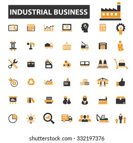 industrial factory, industry, business icon & sign concept vector set for infographics, website