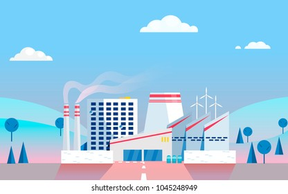 Industrial factory on background. Vector flat gradient illustration