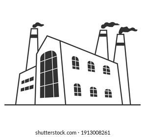Industrial factory in perspective view.Facade manufacturing  building.Vector cartoon style.Outline vector illustration.Industrial building line art.