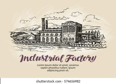 Industrial factory, plant sketch. Vintage building vector illustration