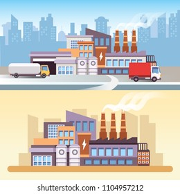 Industrial factory scene in 2D flat style. Plant or Factory Building. Road, car, tree, window, facade. Manufacturing factory building. Smart Factory. Industry 4.0.