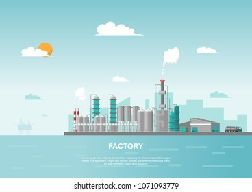 Industrial factory in the sea on flat style. Vector and illustration of manufacturing building. modern style construction concept. City landscape