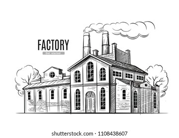 industrial factory vector hand drawn illustration black ink