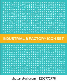 Industrial and factory vector icon set design