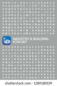 Industrial and factory vector icon set