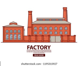 Industrial factory warehouse .Factory building.Flat vector.Old vintage plant.Brick architecture smoking chimney.Concept industry production.