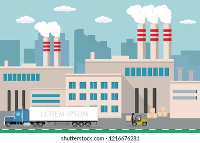 Industrial factory,city view on background,Delivery long truck and forklift with wooden box,Pipe with smoke.Flat vector illustration