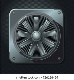 Industrial fan. Air ventilation. Realistic metal propeller.