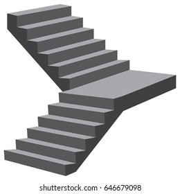 Industrial flight of stairs with a turn without rails.