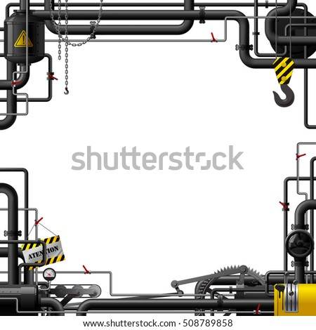 Industrial Frame Black Pipes Machine Gears Stock Vector (Royalty ...