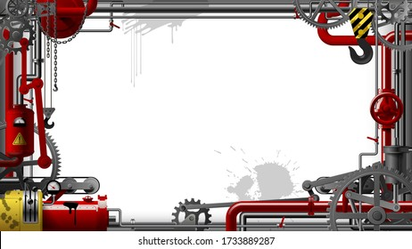 Industrial frame with gears, levers, pipes, meters, production line, flue and lifting crane. Symbol and metaphor of technology and industry. Vector illustration