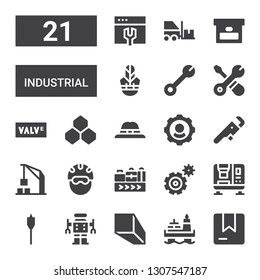 industrial icon set. Collection of 21 filled industrial icons included Box, Oil, Minerals, Robot, Auger, Press machine, Settings, Conveyor belt, Helmet, Harbor crane, Wrench, Hat