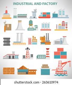 Industrial icon set design,clean vector