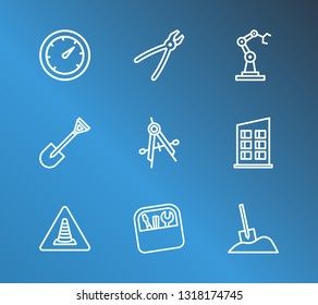 Industrial icon set and toolbox with house, construction badge and gauge. Digger related industrial icon vector for web UI logo design.