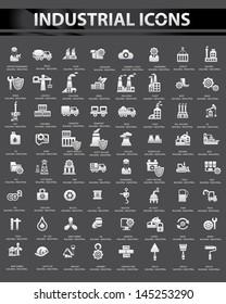 Industrial icon set,Black background version,vector