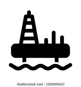 industrial icon - vector offshore industry equipment sign symbol. industrial oil platform illustration isolated, silhouette oil platform