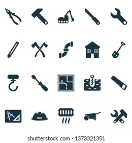 Industrial icons set with boer, saw, shovel and other graphite elements. Isolated vector illustration industrial icons.