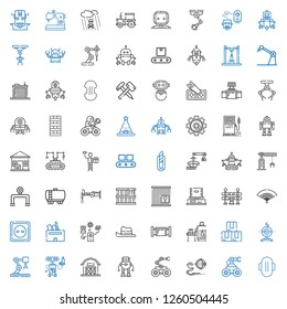 industrial icons set. Collection of industrial with compress, robot, barn, industrial robot, box, conveyor, pipe, hat, socket, fan, traffic barrier. Editable and scalable industrial icons.
