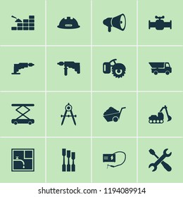 Industrial icons set with screwdriver with key, excavator, drawing and other pushcart elements. Isolated vector illustration industrial icons.