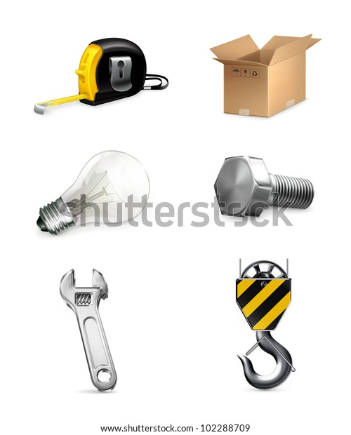 Industrial icons set, vector