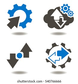 Industrial integration business web concept. Gear arrow vector icon set cycle recycle modernization automation cogwheel industry 4.0 engineering cloud storage technology
