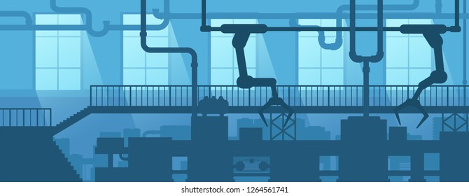 Industrial interior of factory, plant. Design scene silhouette industry enterprise. Vector illustration