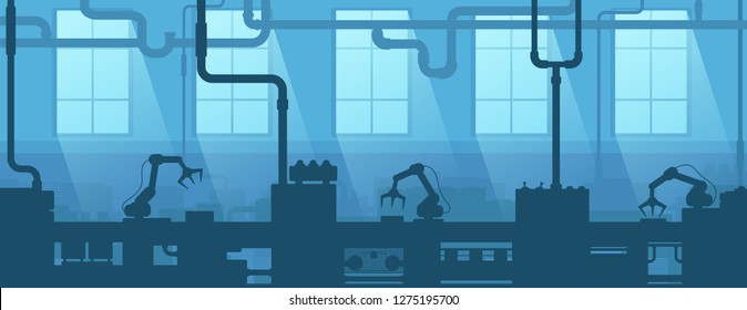 Industrial interior of factory, plant. Silhouette industry enterprise. Manufacturing 4.0.