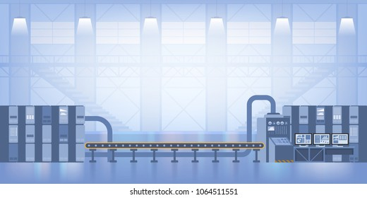 Industrial interior. Smart factory. Industry 4.0 Vector illustration
