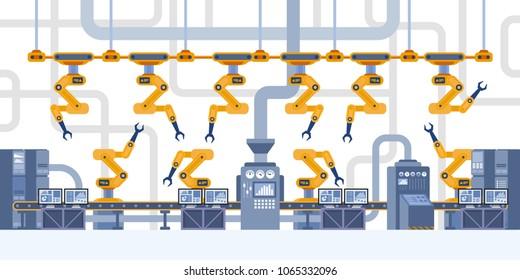 Industrial interior. Smart factory. Industry 4.0 Vector illustration