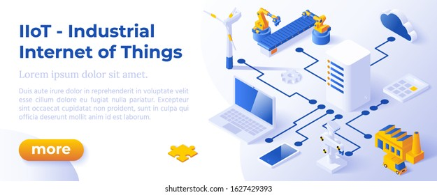 INDUSTRIAL INTERNET OF THINGS IIoT - Isometric Design in Trendy Colors Isometrical Icons of Various Electronic and Industrial Devices on Blue Background. Banner Layout Template for Website Development
