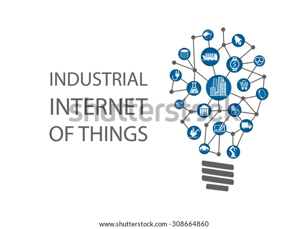 Industrial internet of things (industry 4.0) vector illustration. New business ideas by using digital technology concept.