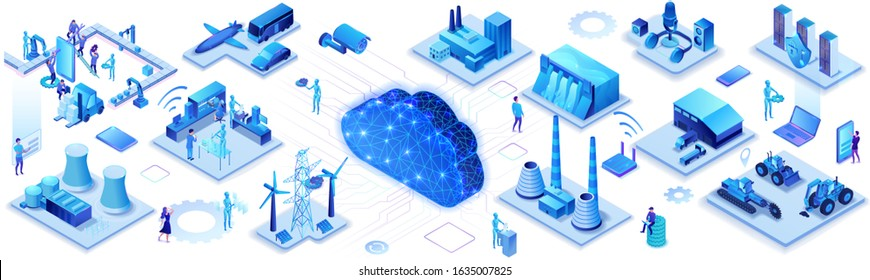 Industrial internet of things infographic horizontal banner, blue neon concept with factory, electric power station, cloud 3d isometric icon, smart transport system, mining machines, data protection