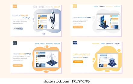 Industrial internet of things landing page template set. Modern technological progress smart industrial manufacturing. Equipment for alternative energy, robots and programmed production control