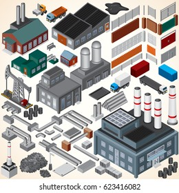 Industrial Isometric 3D Building. Isometric Map Kit. Isolated Vector Architecture Industrial Oil Rig, Nuclear Plant, Factory System, Pipeline Construction, Textile Manufacture, Car Cargo Trucks, Fence