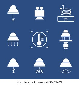 Industrial lamp buttom. Icon in trendy flat style isolated on blue background. Pictograms symbol for your web site design, logo, app. Vector illustration, EPS10