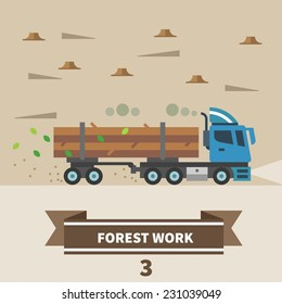 Industrial landscape. Factory and construction. Forest work. Machinery for deforestation. Truck. Vector flat illustration