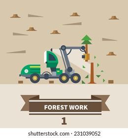 Industrial landscape. Forest work. Machinery for deforestation. Vector flat illustration