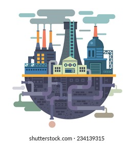 Industrial landscape. Plant or factory. Ecology. Pollution. Vector flat illustration