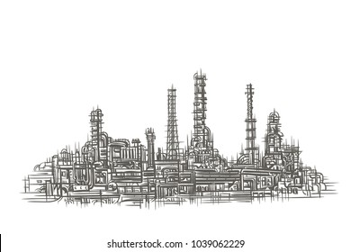Industrial Landscape sketch. Vector.