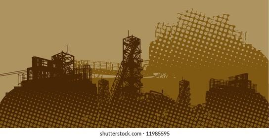 industrial landscape - vector - brown