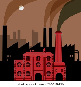 Industrial landscape, vector illustration
